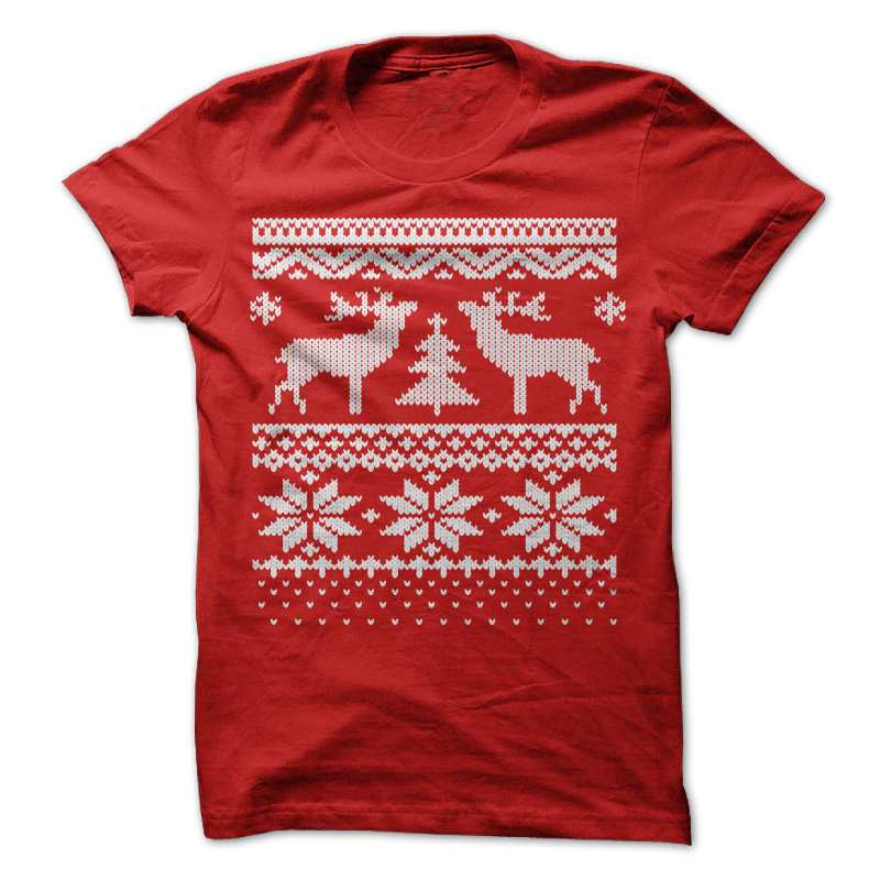 ugly christmas sweater t shirt red