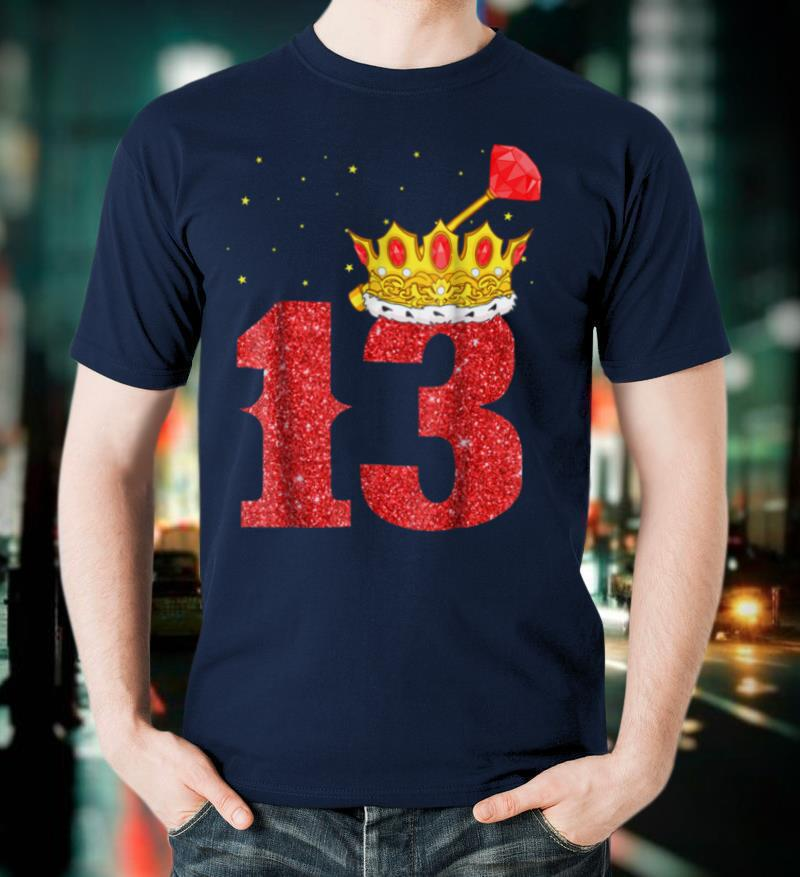 13th Birthday Boy Gold Crown 13 Years old T Shirt Gifts