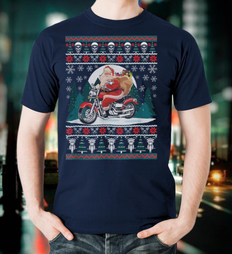 Biker Christmas Gifts Ugly Christmas Motorcyle Santa Holiday T Shirt