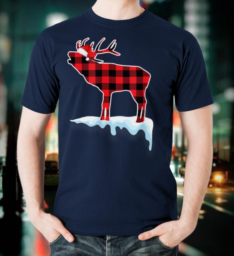 Deer Red Plaid Christmas Pajamas Xmas Decorations Gift Women T Shirt