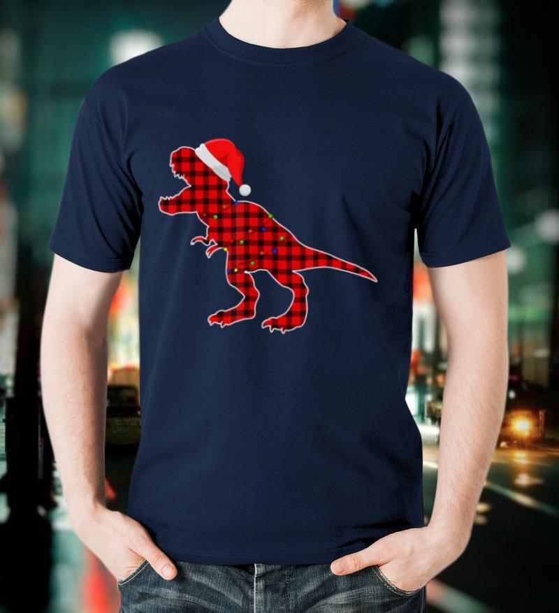 Dinosaur Red Plaid Buffalo T Rex Christmas Lights Pajamas T Shirt