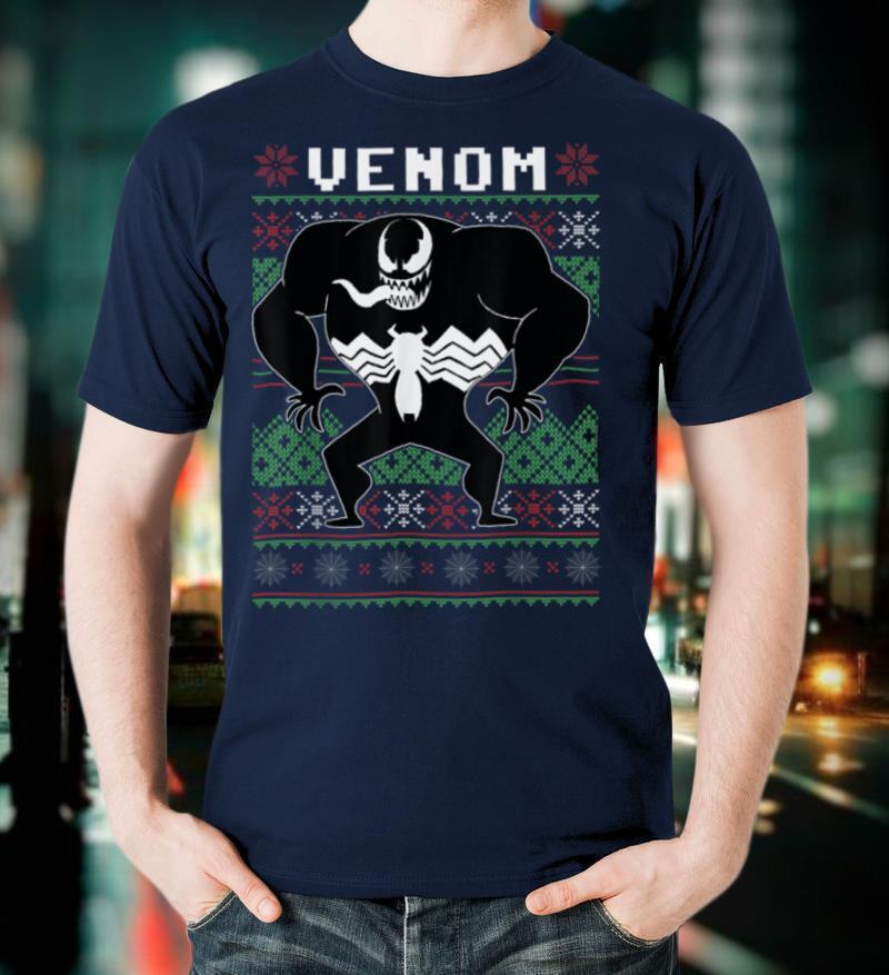 Marvel Christmas Venom Action Pose Ugly Sweater T Shirt
