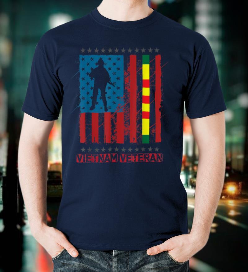 Proud Vietnam Veteran US Flag Ribbon Father's day T Shirt