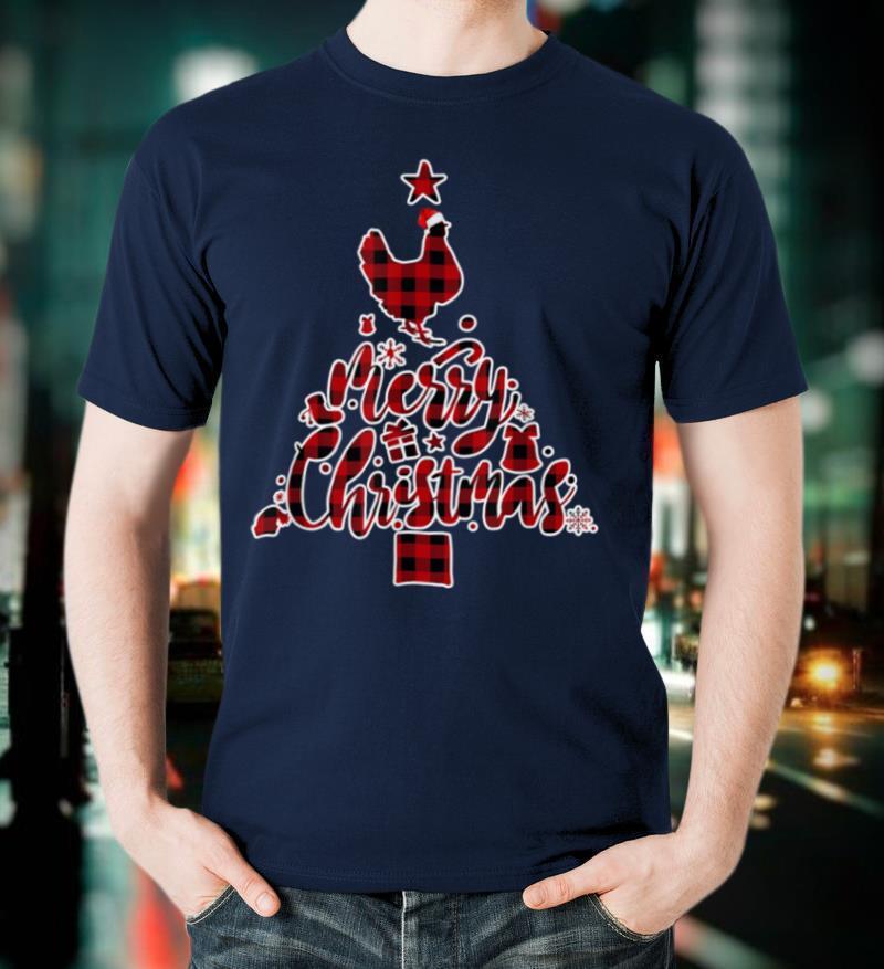 Red Plaid Chicken Christmas Pajamas Xmas Tree Gift Women T Shirt