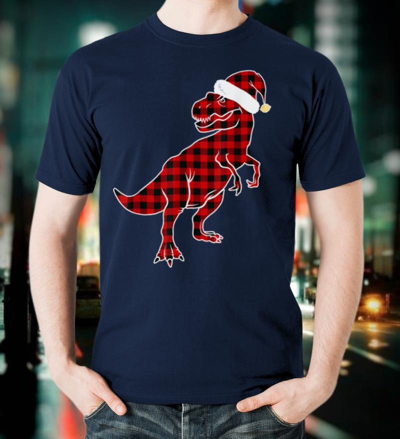 Red Plaid Dinosaur T Rex Christmas Lights Pajamas Adult Kids T Shirt