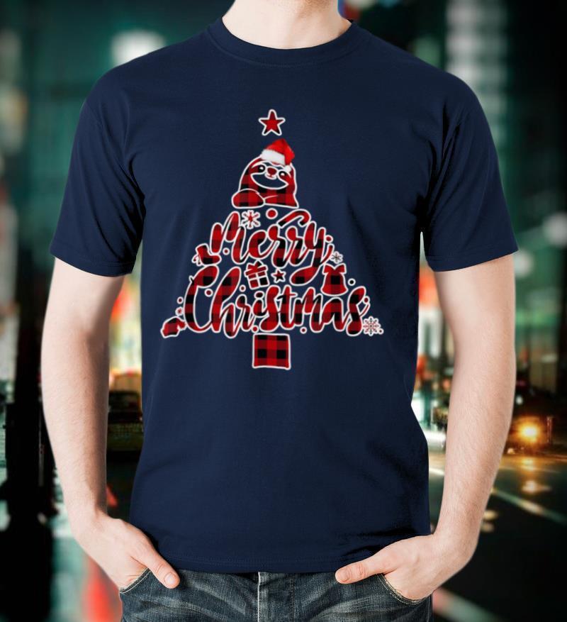 Red Plaid Sloth Christmas Pajamas Xmas Tree Gift Women Girls T Shirt