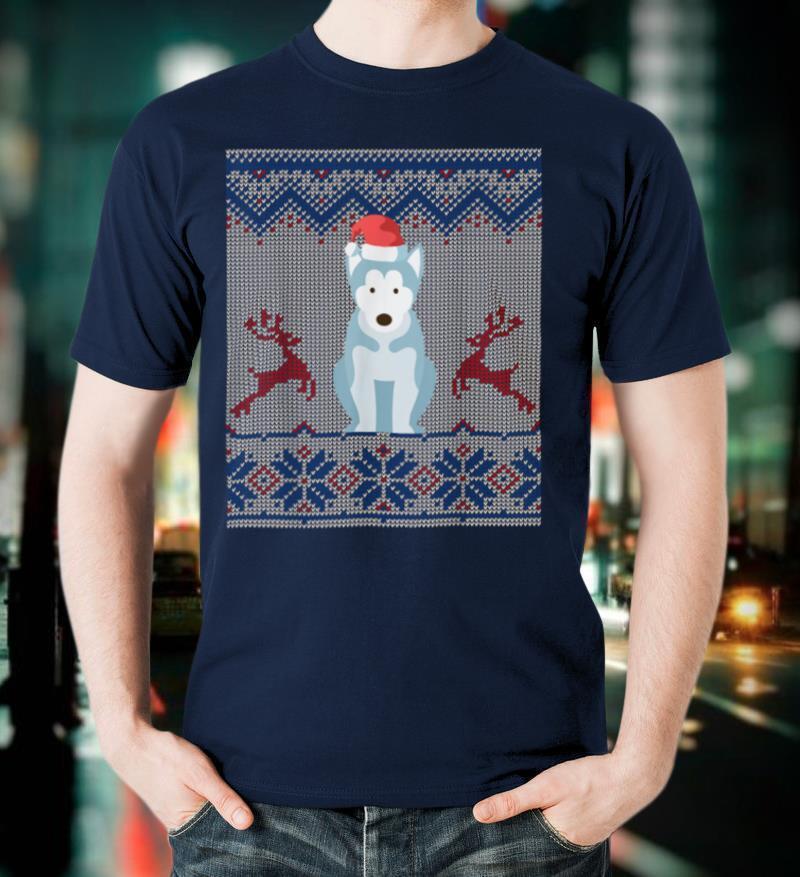 Siberian Husky Dog Santa Hat Ugly Christmas Sweater Gift T Shirt