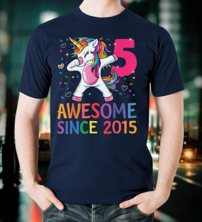 5 Years Old 5th Birthday Unicorn Dabbing Shirt Girl Party T Shirt