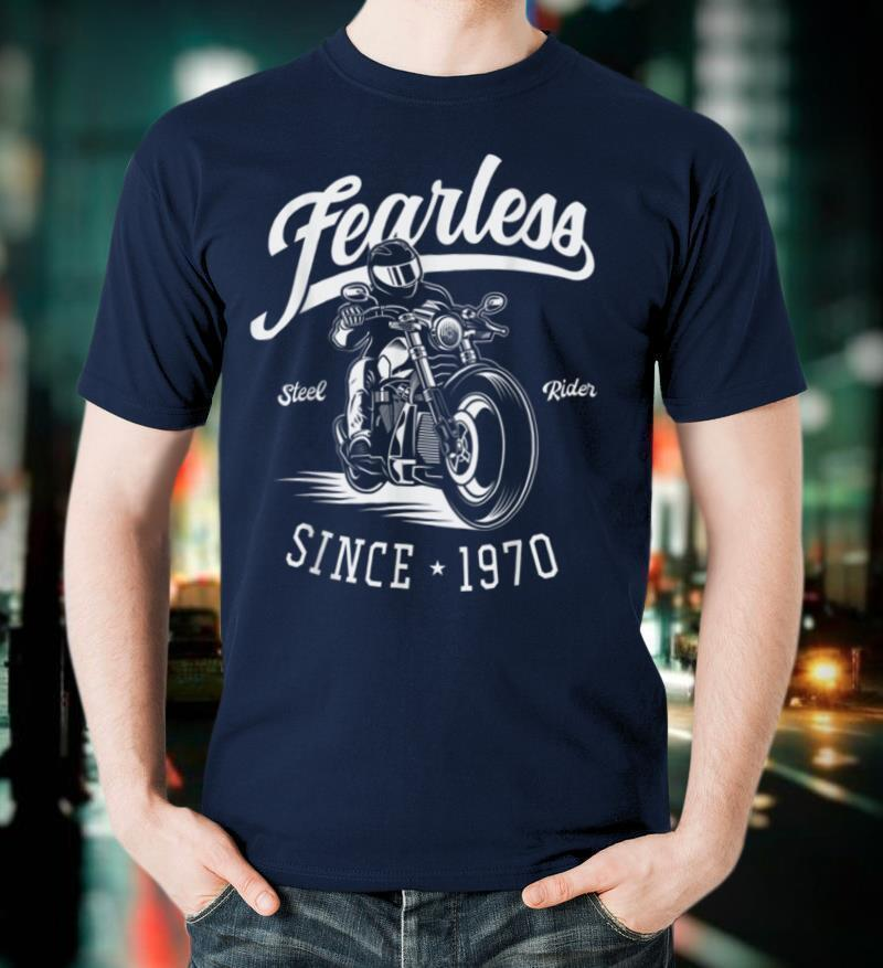 50th Birthday Gift Fearless Since 1970 Motorbike Rider T Shirt