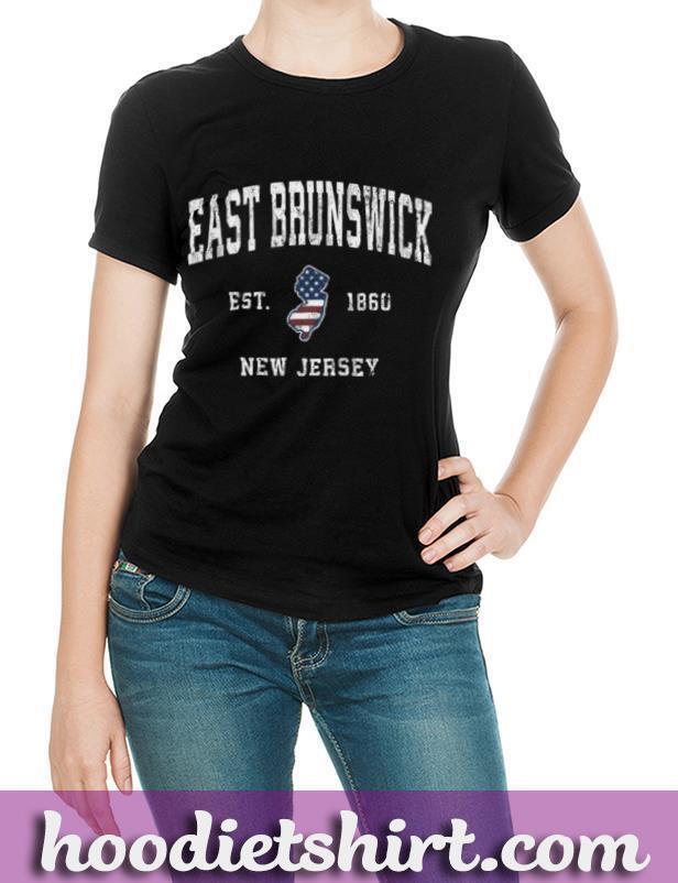 East Brunswick New Jersey NJ Vintage American Flag Design T Shirt