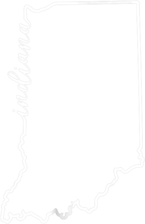 Indiana Silhouette Tshirt with Hand lettered Outline
