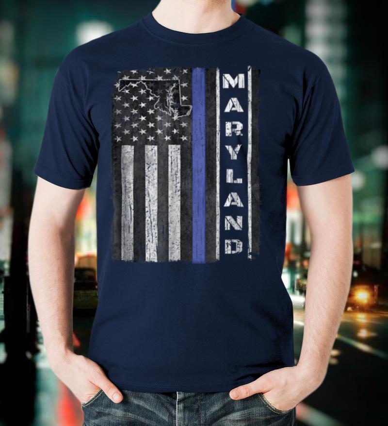 Maryland Thin Blue Line Police Week TShirt USA Flag Gift Men
