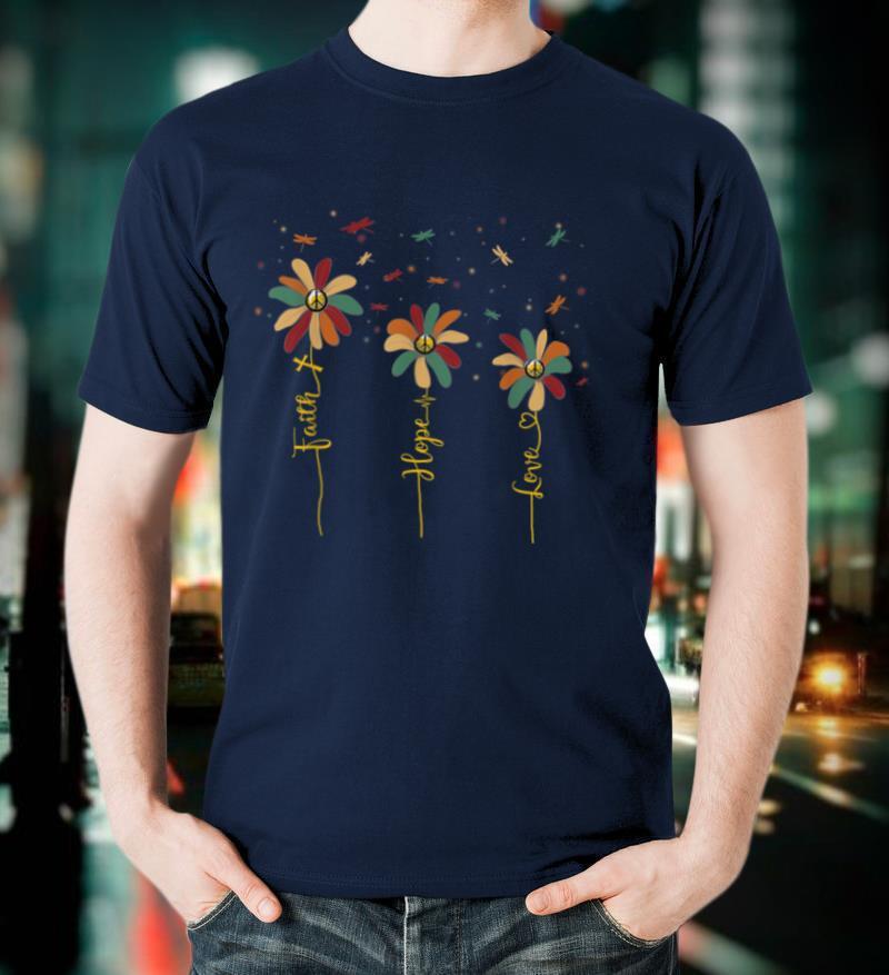Vintage Faith Hope Love Peace Sign Daisy Dragonfly Hippie T Shirt