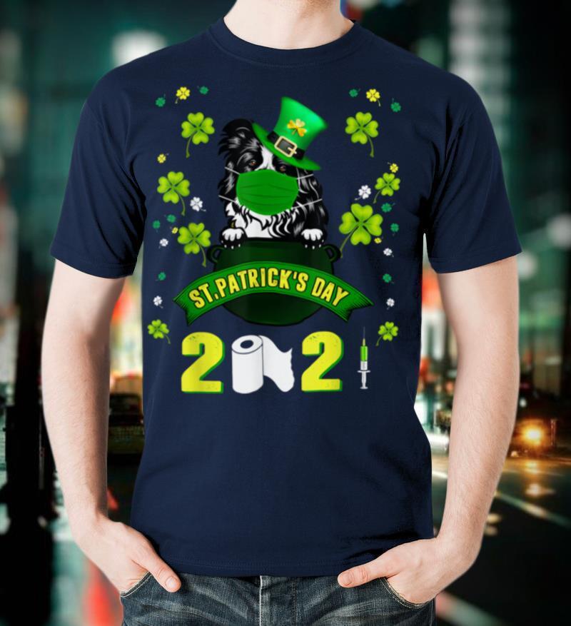 Border Collie Leprechaun Dog Face Mask St Patricks Day 2021 T Shirt