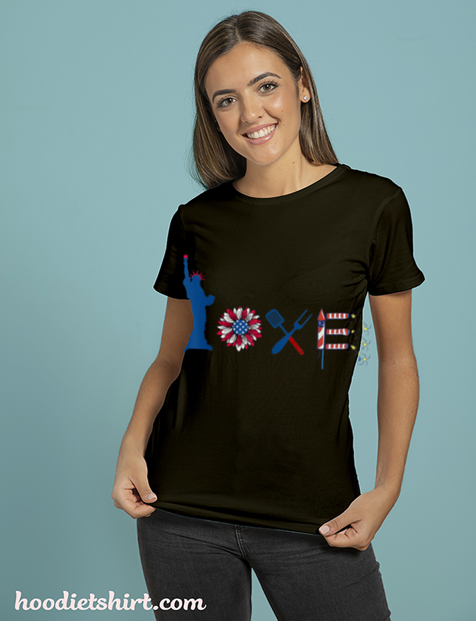 4th Of July Love Icon Firework Flag American For Patriotic T Shirt