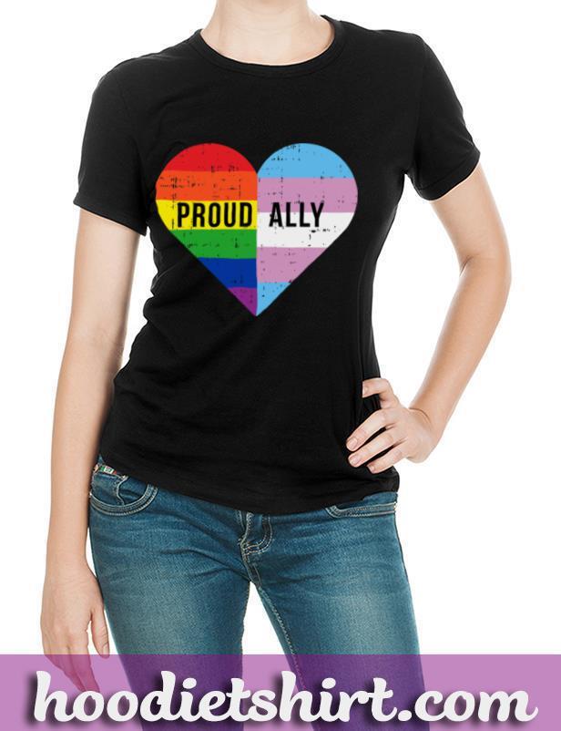 Gay Trans Transgender Heart Rainbow Flag Cool LGBT Ally Gift Pullover Hoodie