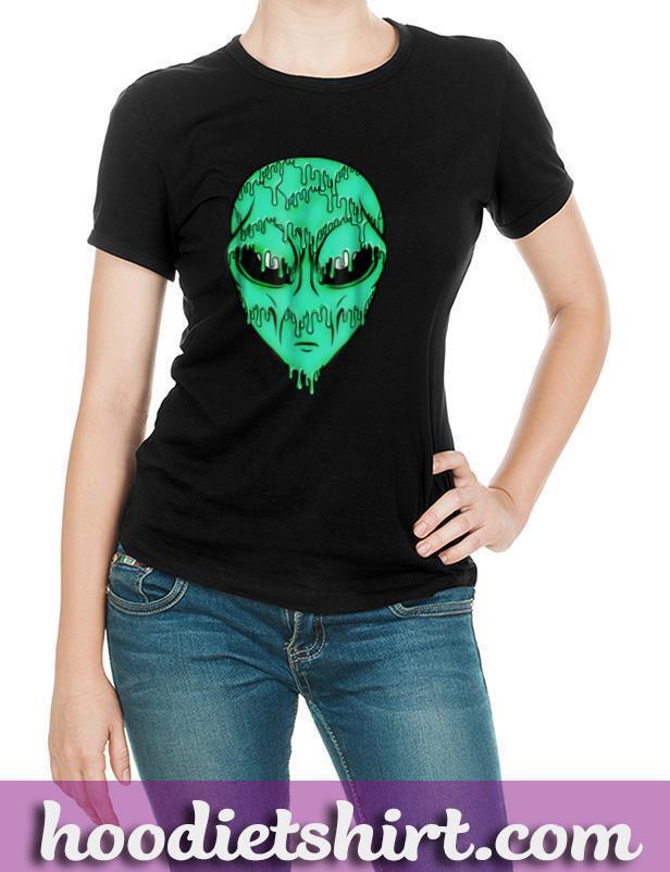 Green Trippy Alien Shirt Psychedelic Alien Face UFO